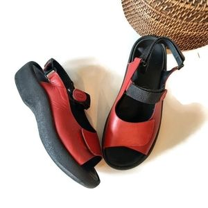 WOLKY red leather comfortable velcro sandals
